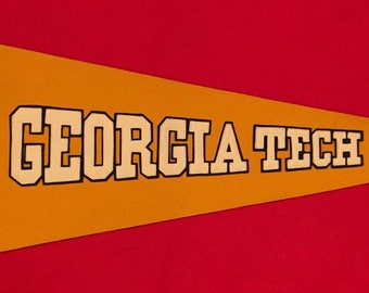 043169d81 Spectacular Circa 1930's Georgia Tech University Sewn Letter Pennant by  Chicago Pennant Co - Antique Yellowjackets Football Memorabilia