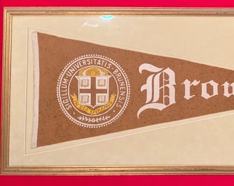 new concept 67acf 7f00d Beautifully Framed Circa 1910 Brown University Oversized Pennant with  School Crest Decoration - Antique Ivy League College Memorabilia