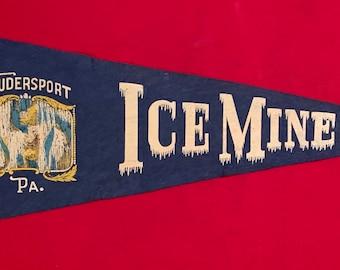 Flag Pennsylvania Souvenir Childhood Memory Pendant Vintage Pennant Coudersport Ice Mine Gift