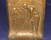 Beautiful Circa 1920 39 s Golf Themed Bronze Bookend Doorstop - Great Figural Golfing Antique