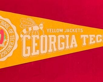 c91105c68 Beautiful 1950's Georgia Tech Yellow Jackets Full Sized Pennant - Antique  College Football Memorabilia