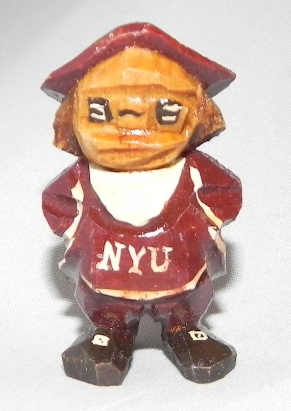 Circa 1950's Anri New York University NYU Mascot Hand Carved Minature  Statue in Mint Condition