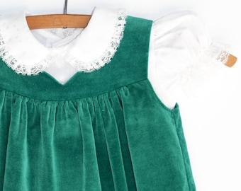 004bce74e Baby Dress, 1960s Dress, Two Piece Dress, Green Velvet, Baby Girl, 12 Months