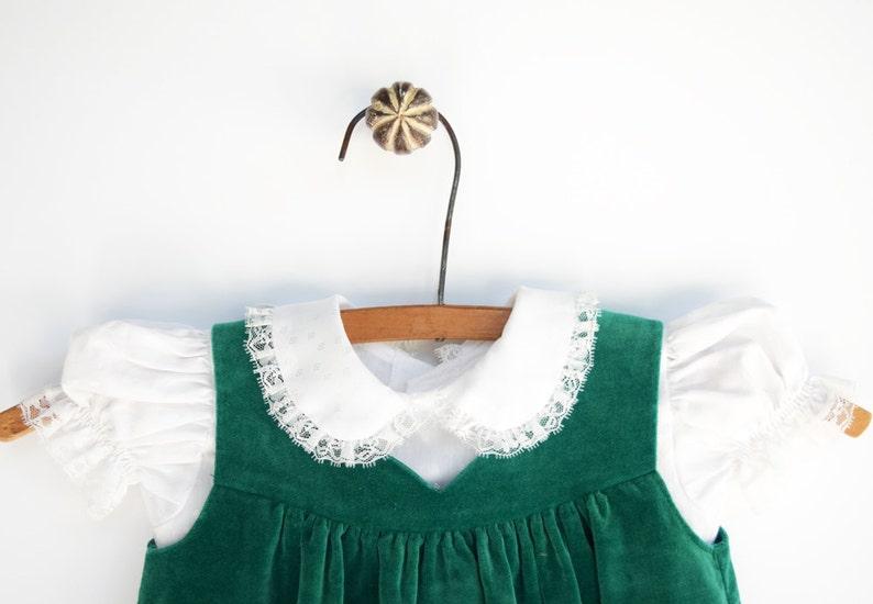 b239171ee Baby Dress 1960s Dress Two Piece Dress Green Velvet Baby | Etsy