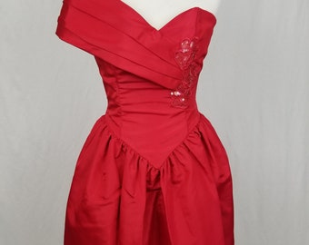 VTG 80s Gunne Sax Dress Prom Party Red One Shoulder Sequin Jessica McClintock - Size 5/6