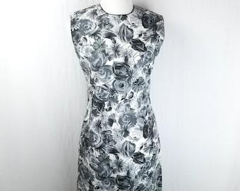 ecd0e1926522c Vintage 50s 60s Sydney Honolulu Grey White Floral Sheath Dress Size 12