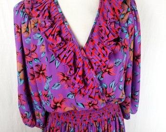 da03ea404fad Vintage Susan Freis Assorti Purple Colorful Ruffle Pleated Boho Gypsy Maxi  Dress