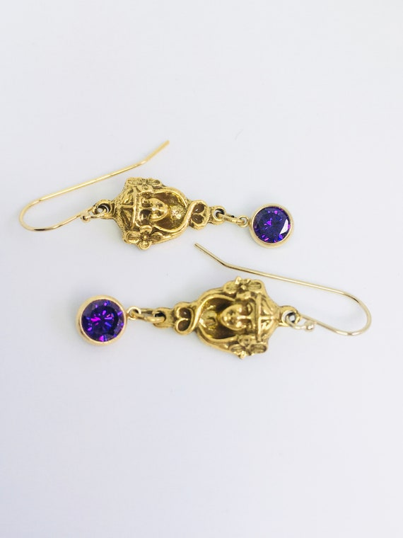 Art Nouveau Gold Filled Earrings / Amethyst Earrin