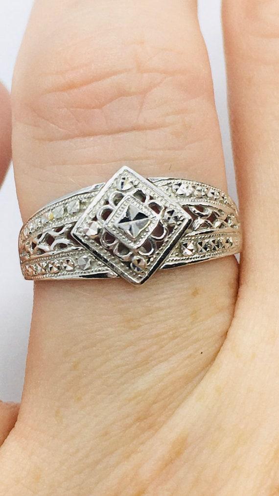 Art Deco Style 10k White Gold Diamond Cut Ring / W