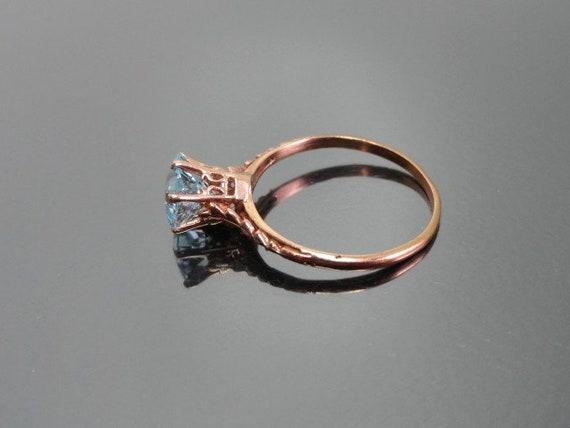 Edwardian Antique Ring, 14k Aquamarine Ring, Soli… - image 2