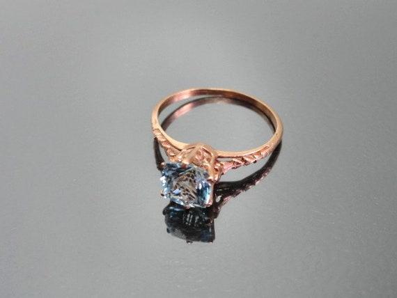 Edwardian Antique Ring, 14k Aquamarine Ring, Soli… - image 1