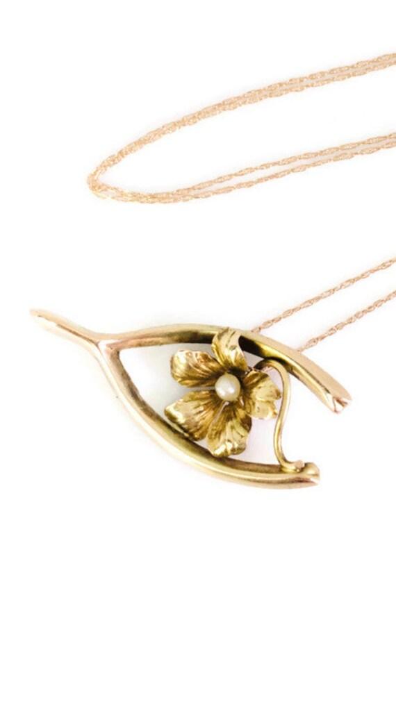 Antique Wishbone Necklace - Edwardian 10k Yellow G