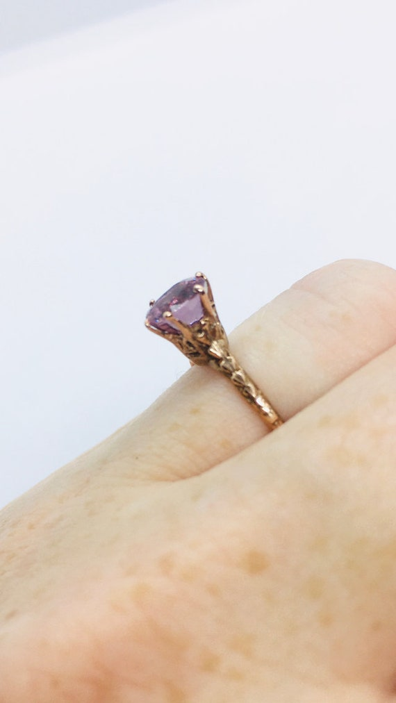 Edwardian Antique Ring, 14k Spinel Ring, Solitair… - image 3