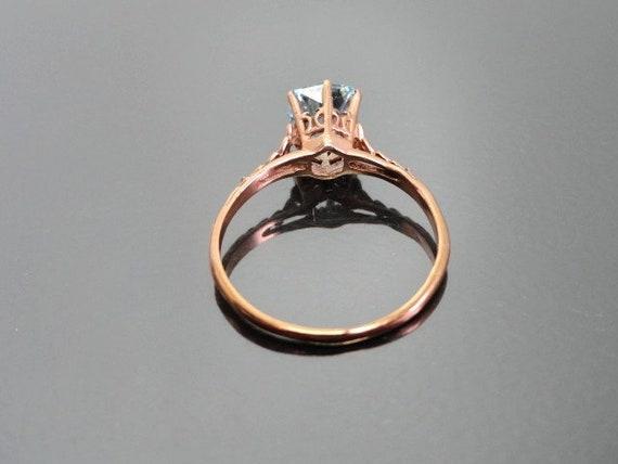 Edwardian Antique Ring, 14k Aquamarine Ring, Soli… - image 4