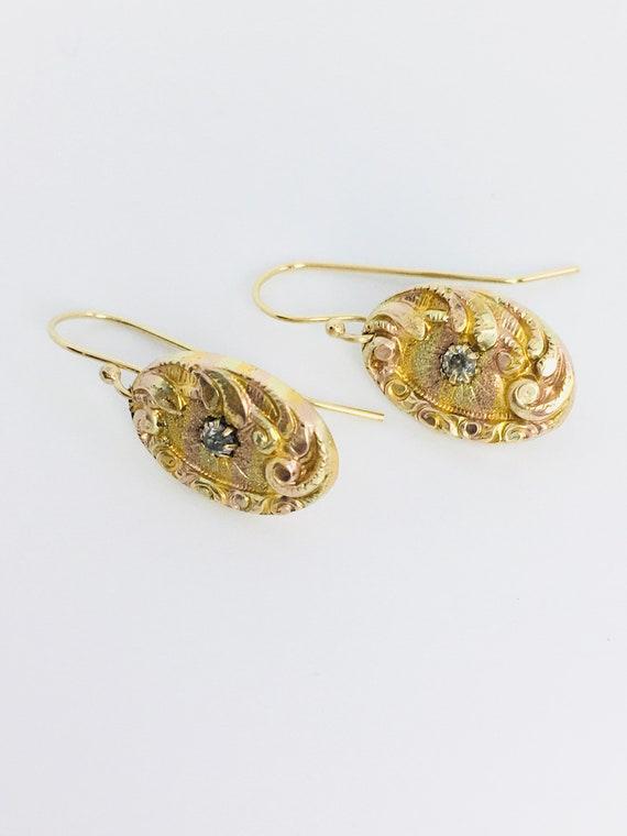 Antique 1900's Cufflink Earrings / Antique Repouss