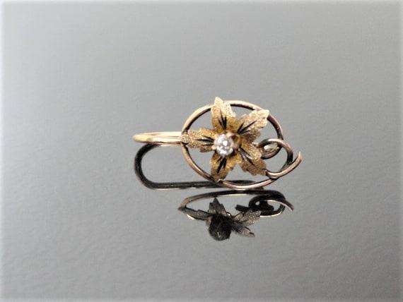 Victorian 10k Gold Diamond Earring /Gold Flower Ea