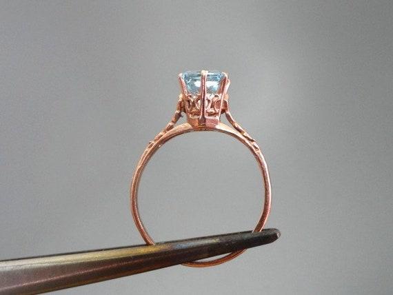 Edwardian Antique Ring, 14k Aquamarine Ring, Soli… - image 6