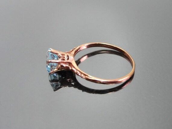 Edwardian Antique Ring, 14k Aquamarine Ring, Soli… - image 3