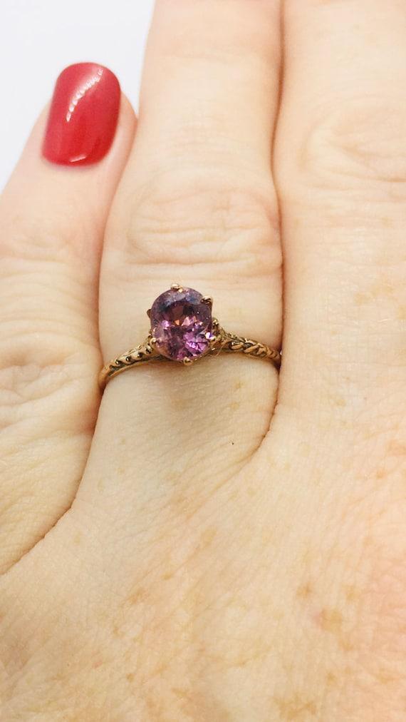 Edwardian Antique Ring, 14k Spinel Ring, Solitair… - image 2