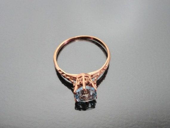 Edwardian Antique Ring, 14k Aquamarine Ring, Soli… - image 5