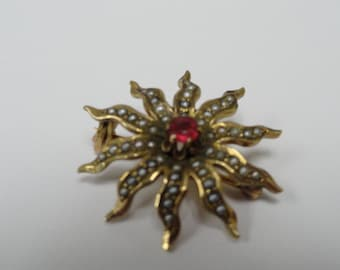 Victorian 10k Gold Seed Pearl and Ruby Star Burst Pin Brooch