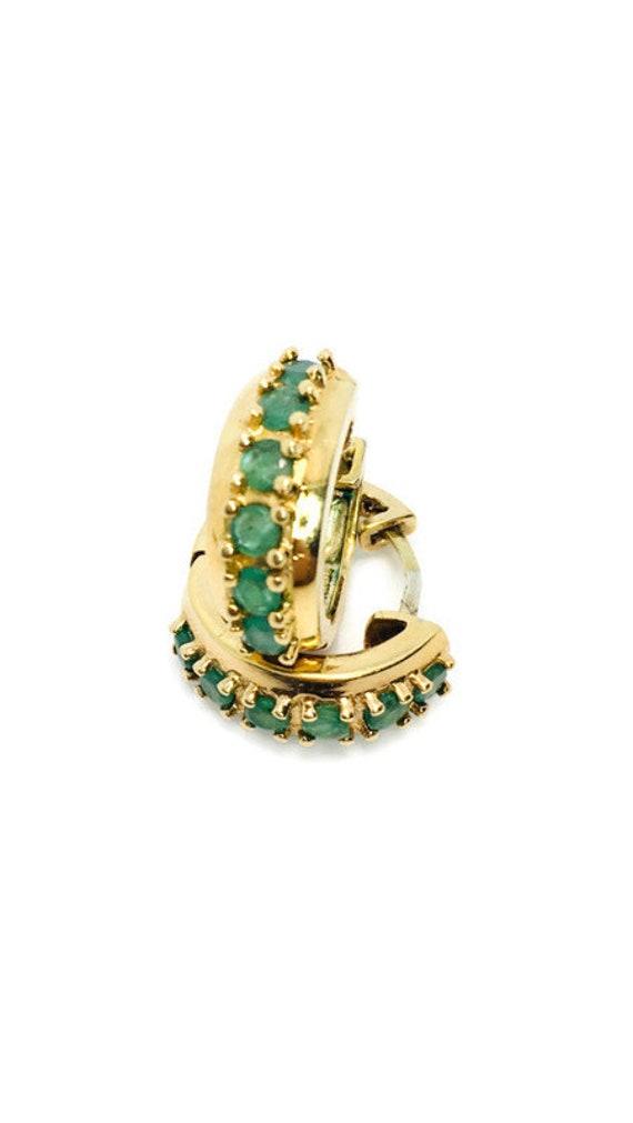 Vintage Sterling Silver Gold Vermeil Emerald Hoop