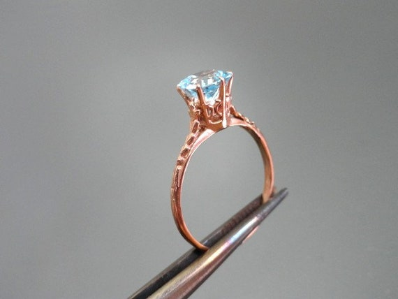 Edwardian Antique Ring, 14k Aquamarine Ring, Soli… - image 7