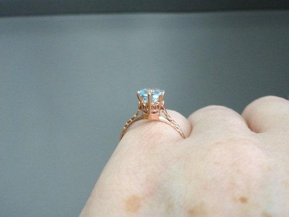 Edwardian Antique Ring, 14k Aquamarine Ring, Soli… - image 8