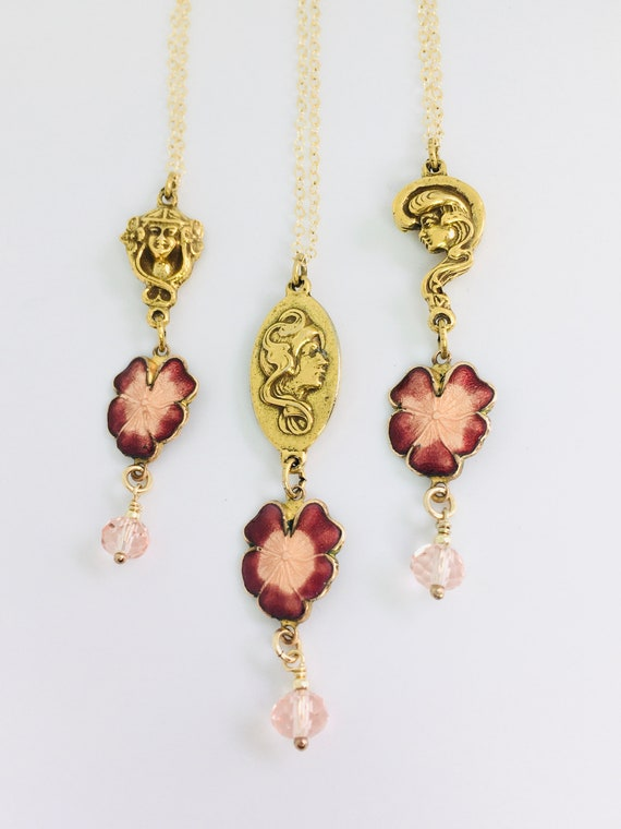 Art Nouveau Gold Filled Necklace / Enamel Flowers