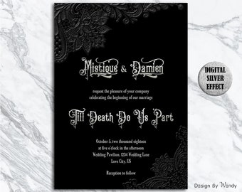 Black wedding invite etsy gothic wedding invitation black lace and silver till death do us part printable gothic wedding invite set silver and black invitation gbl1 filmwisefo