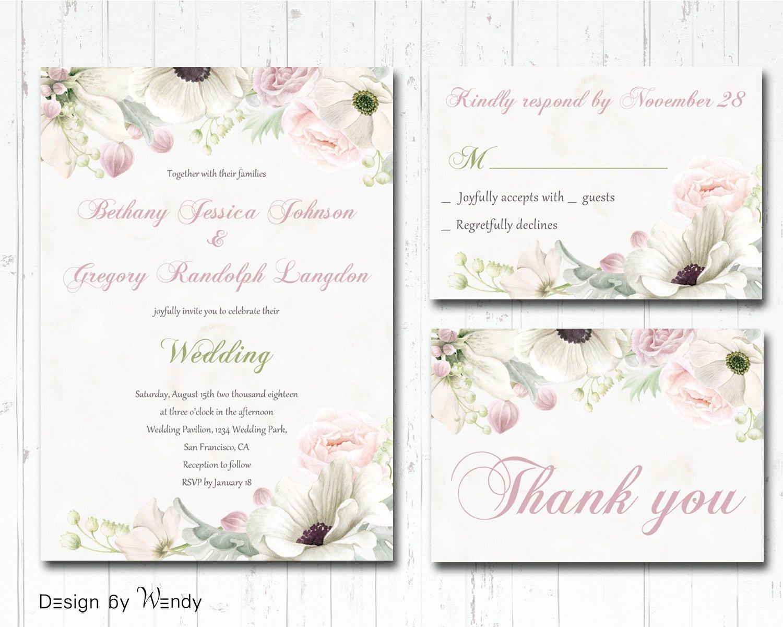 Blush And Ivory Wedding Invitations: Retro Wedding Invitation Ivory And Blush Watercolor