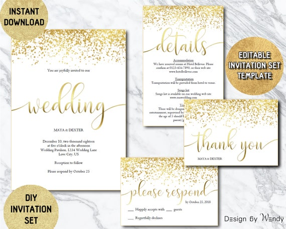Gold wedding invitation editable template modern calligraphy | Etsy