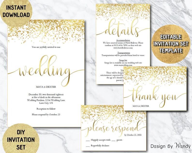 Gold Wedding Invitation Editable Template Modern Calligraphy Etsy