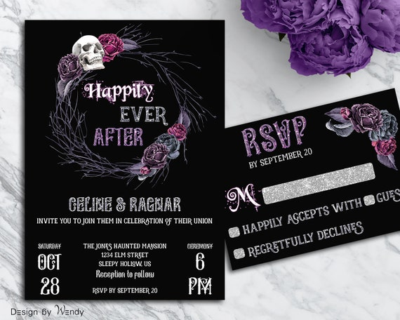 Happily Ever After Wedding Invitations: Gothic Wedding Invitation Happily Ever After Purple