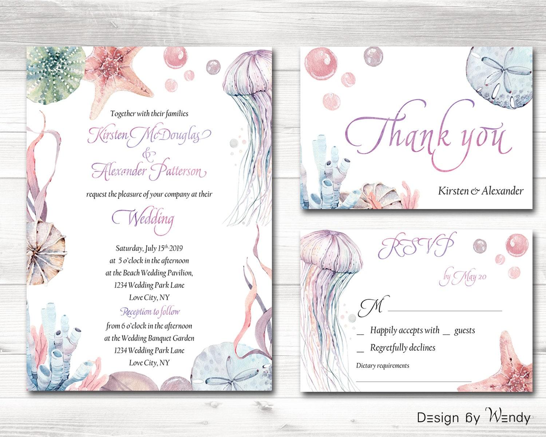 Printable Beach Wedding Invitations: Wedding Invitation Set Printable Invite Beach Wedding Birthday