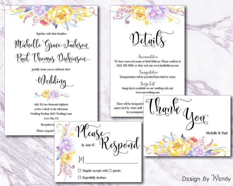 Wedding invitation suite lavender and yellow flowers, pastel flowers  wedding invitation set, bohemian wedding printable invite set LY1