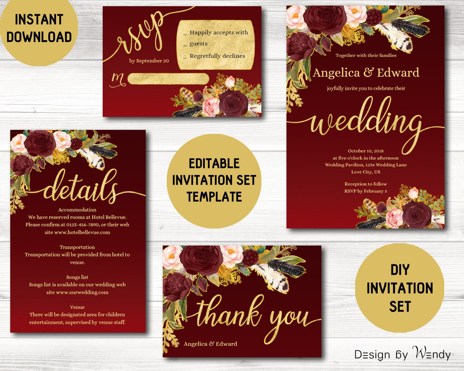 Burgundy and gold wedding invitation template floral marsala | Etsy