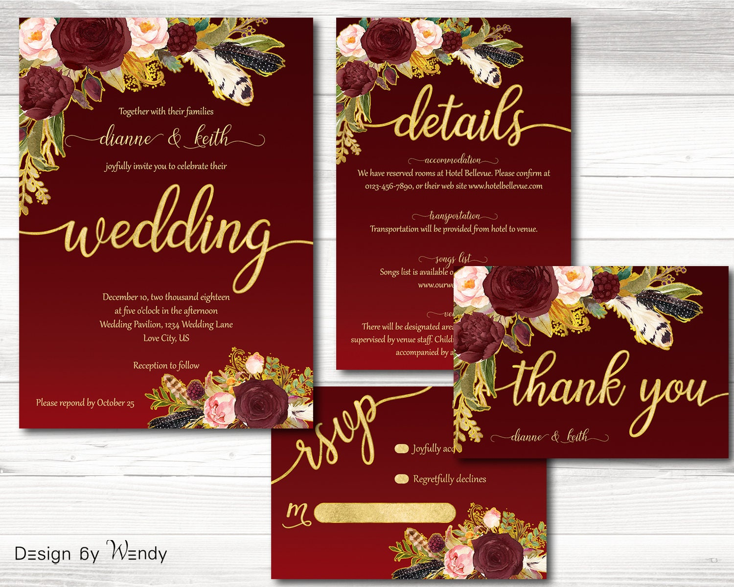 Burgundy and gold wedding invitation boho wedding invite set | Etsy