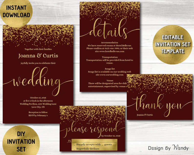 Wedding Invitation Template Burgundy And Gold Glitter Modern Calligraphy Marsala Suite Editable Invite