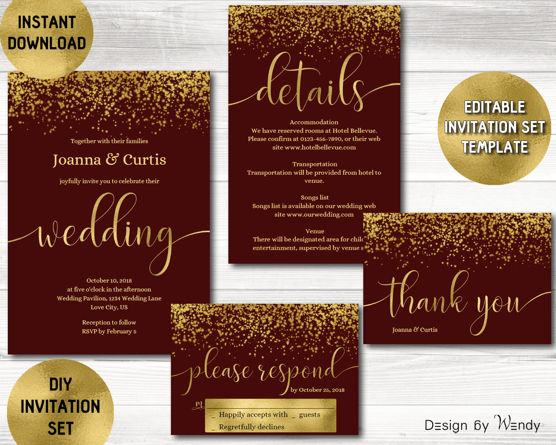 Wedding invitation template burgundy and gold glitter modern | Etsy