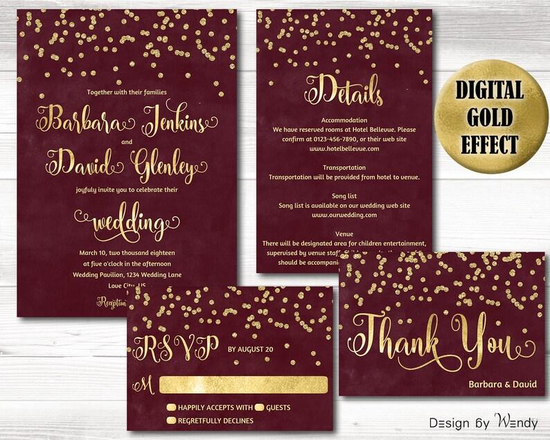 Dark Red And Gold Wedding Invite Gold Confetti Burgundy Wedding Invitation Printable Dark Cherry Red Gold Birthday Shower Invite Sgc
