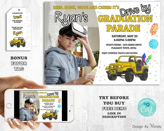 Drive By Graduation Birthday Party Parade sign drive by parade sign for teens editable template DIY invite DB03