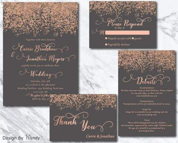 Wedding Invitation Rose Gold Printable Invitation Simple Etsy