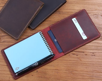 Personalized Real Genuine Leather notepad Cover for Rocketbook Everlast Mini Pocket Notebook, Custom Leather Reusable Pocket Notepad