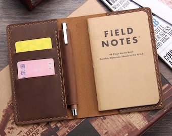 """Rustic Leather Journal Cover for Moleskine, Leather Notebook Cover for Field Notes, Fit 3.5"""" x 5.5"""" Notebook, Free Personalization"""