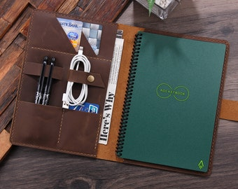 """Personalized Leather Portfolio folder for Rocketbook Reusable Smart notebook, Leather Cover for Rocketbook Everlast Executive Size  6""""x8.8"""""""