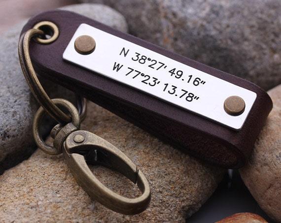 Leather Keyring Birthday Name Optional Engraving Codie