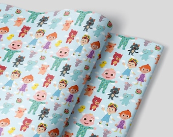 Blue Cocomelon Wrapping Paper Sheets - Set of 3 - Birthday Party Decorations Children Gift Wrap 1st first birthday Boy Girl