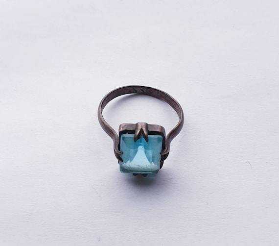 Antique white metal ring