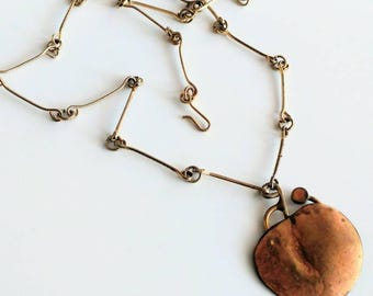 Vintage brutalist apple necklace